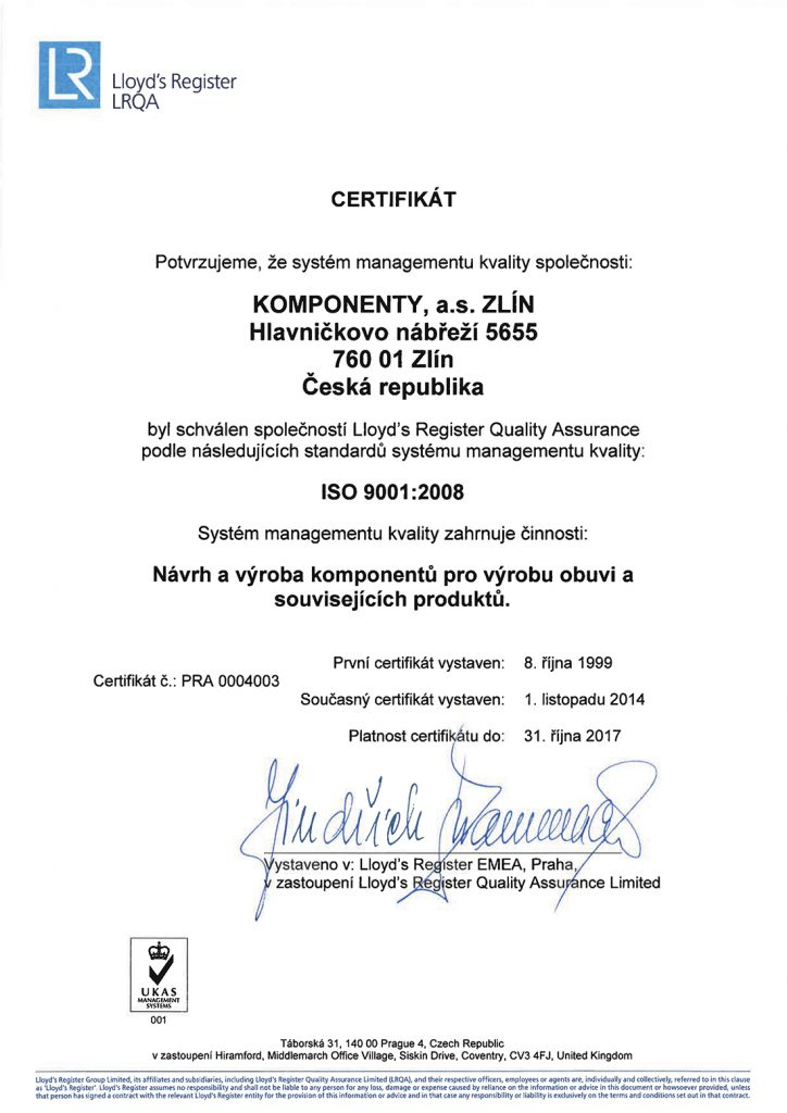 certifikát ISO 9001-2014 CZ